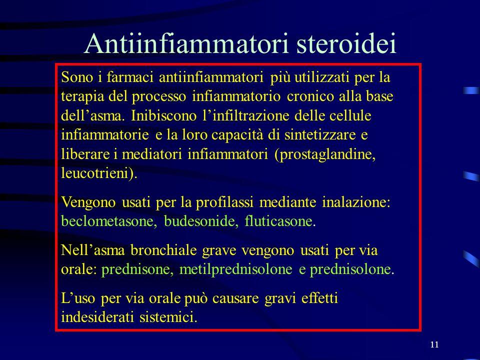 11 Antiinfiammatori steroidei Sono i farmaci antiinfiammatori più utilizzati per la terapia del processo infiammatorio cronico alla base dellasma. Ini