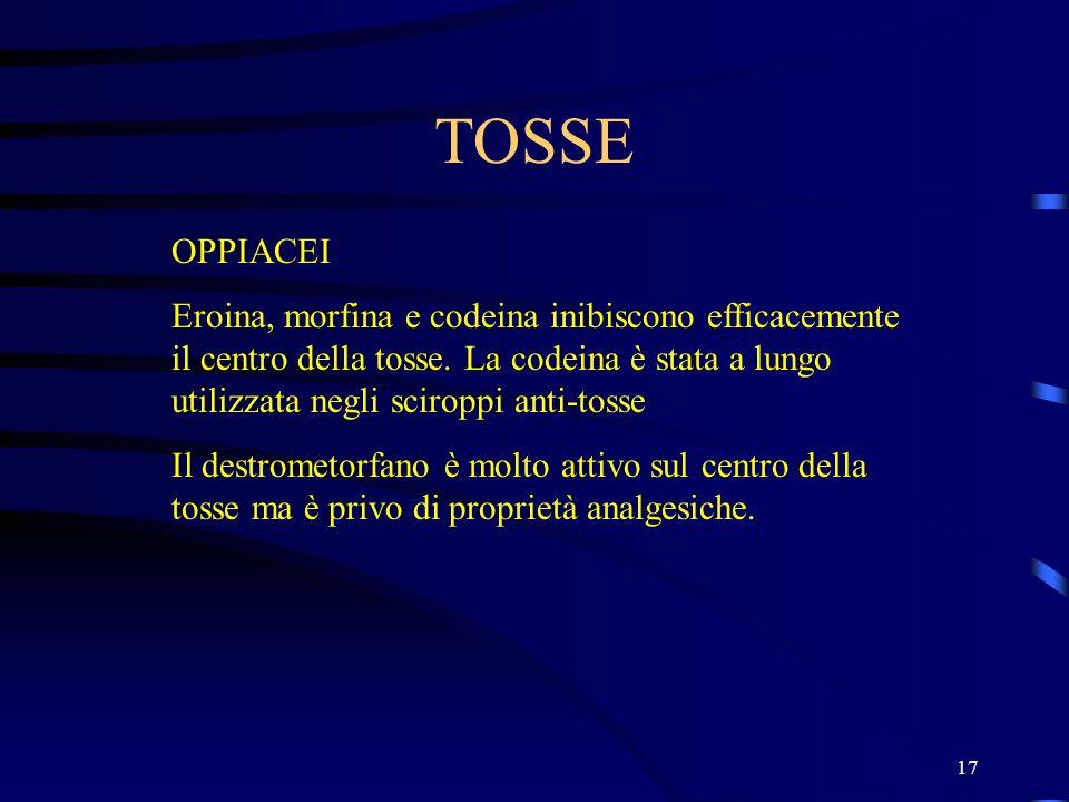 17 TOSSE OPPIACEI Eroina, morfina e codeina inibiscono efficacemente il centro della tosse. La codeina è stata a lungo utilizzata negli sciroppi anti-