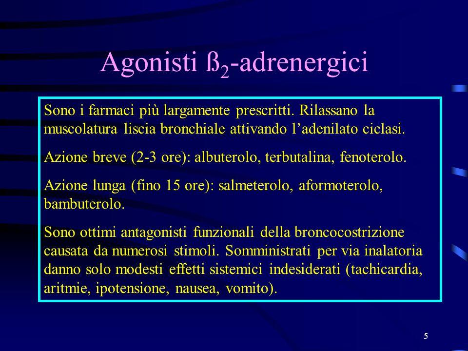 5 Agonisti ß 2 -adrenergici Sono i farmaci più largamente prescritti. Rilassano la muscolatura liscia bronchiale attivando ladenilato ciclasi. Azione