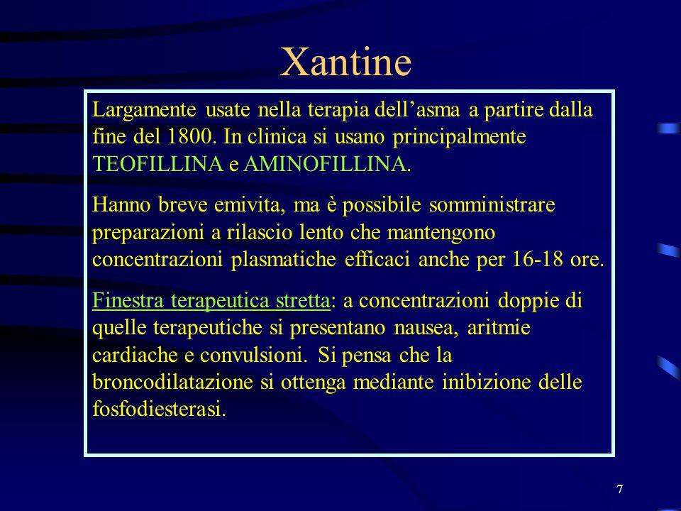 7 Xantine Largamente usate nella terapia dellasma a partire dalla fine del 1800. In clinica si usano principalmente TEOFILLINA e AMINOFILLINA. Hanno b