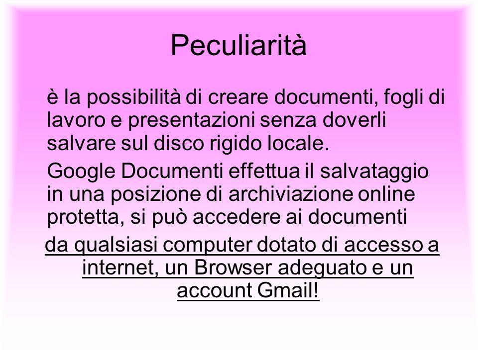 Peculiarità è la possibilità di creare documenti, fogli di lavoro e presentazioni senza doverli salvare sul disco rigido locale. Google Documenti effe