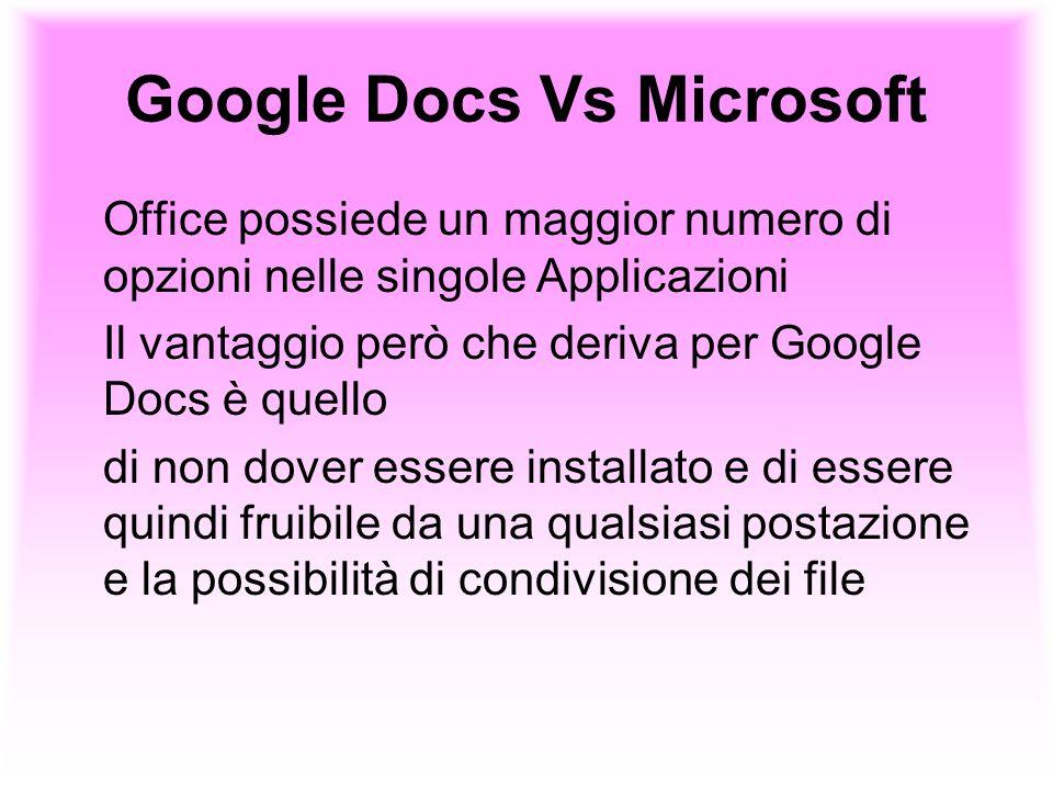 Google Docs Vs Microsoft Office possiede un maggior numero di opzioni nelle singole Applicazioni Il vantaggio però che deriva per Google Docs è quello