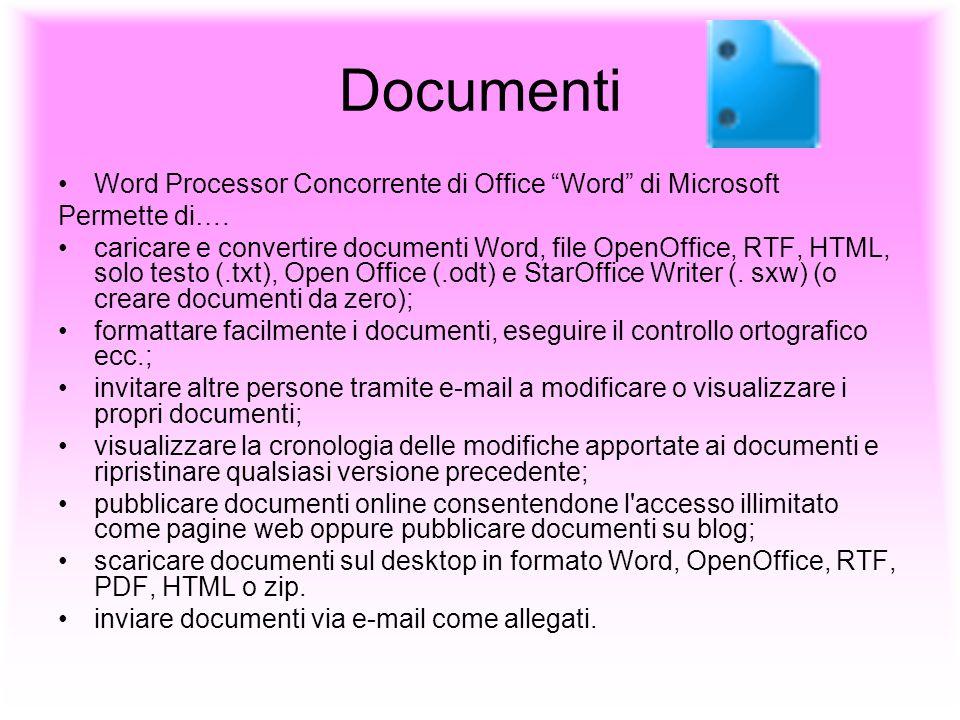 Documenti Word Processor Concorrente di Office Word di Microsoft Permette di…. caricare e convertire documenti Word, file OpenOffice, RTF, HTML, solo