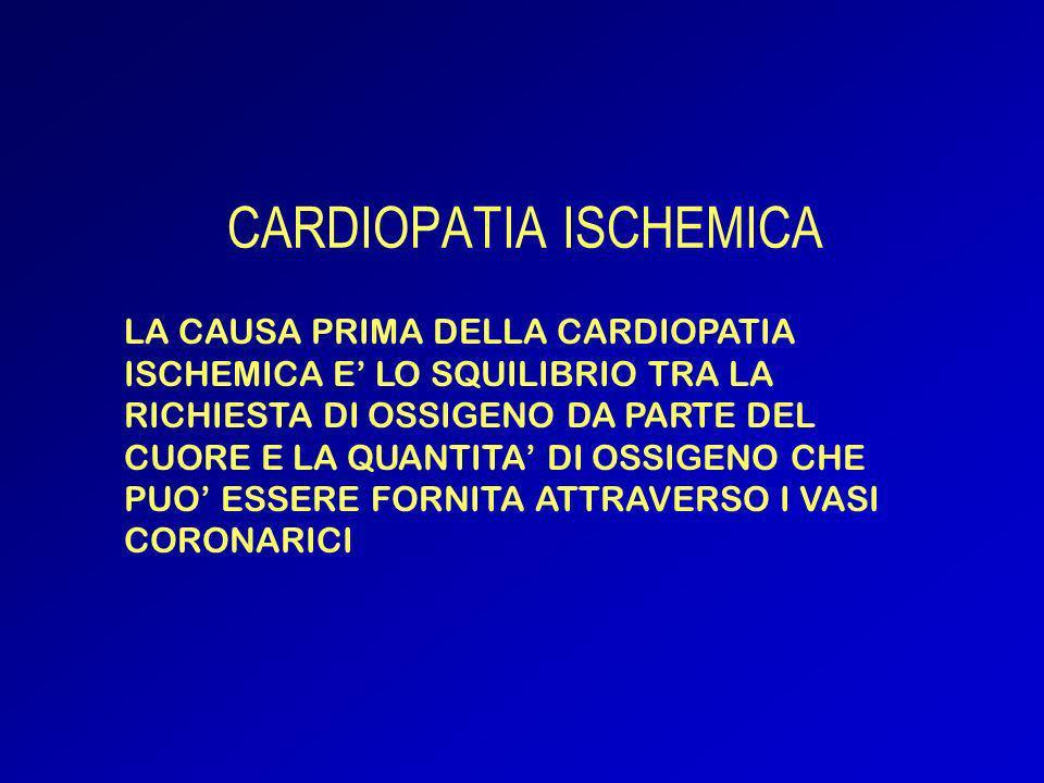 CARDIOPATIA ISCHEMICA TRANSITORIA: ANGINA PECTORIS CARDIOPATIA ISCHEMICA PERSISTENTE: - INFARTO MIOCARDICO - ISCHEMIA MIOCARDICA SILENTE - MORTE CORONARICA IMPROVVISA