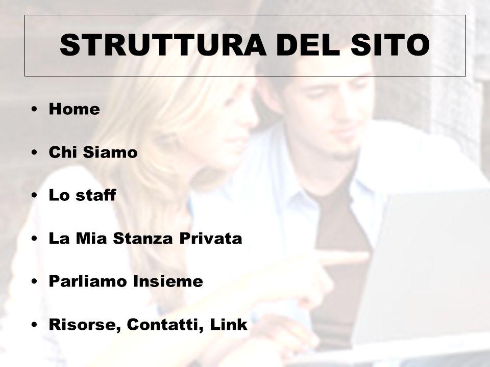 STRUTTURA DEL SITO Home Chi Siamo Lo staff La Mia Stanza Privata Parliamo Insieme Risorse, Contatti, Link