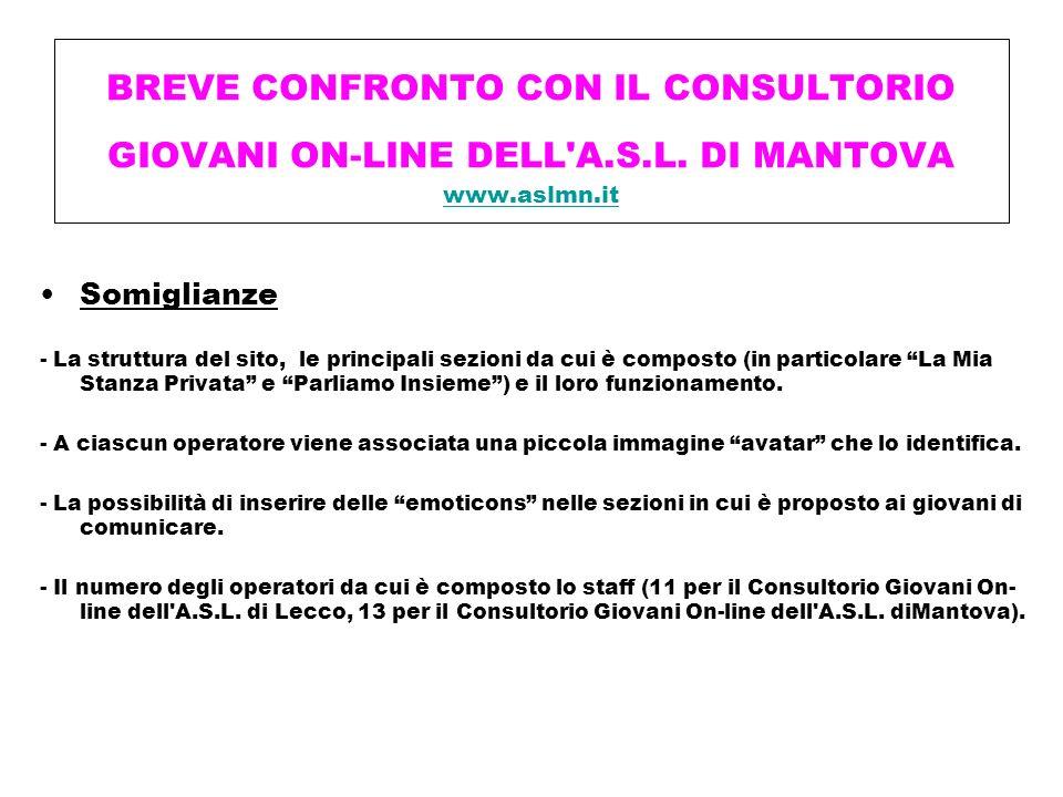 BREVE CONFRONTO CON IL CONSULTORIO GIOVANI ON-LINE DELL'A.S.L. DI MANTOVA www.aslmn.it www.aslmn.it Somiglianze - La struttura del sito, le principali