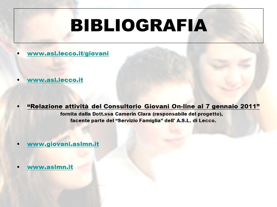 BIBLIOGRAFIA www.asl.lecco.it/giovani www.asl.lecco.it Relazione attività del Consultorio Giovani On-line al 7 gennaio 2011 fornita dalla Dott.ssa Cam