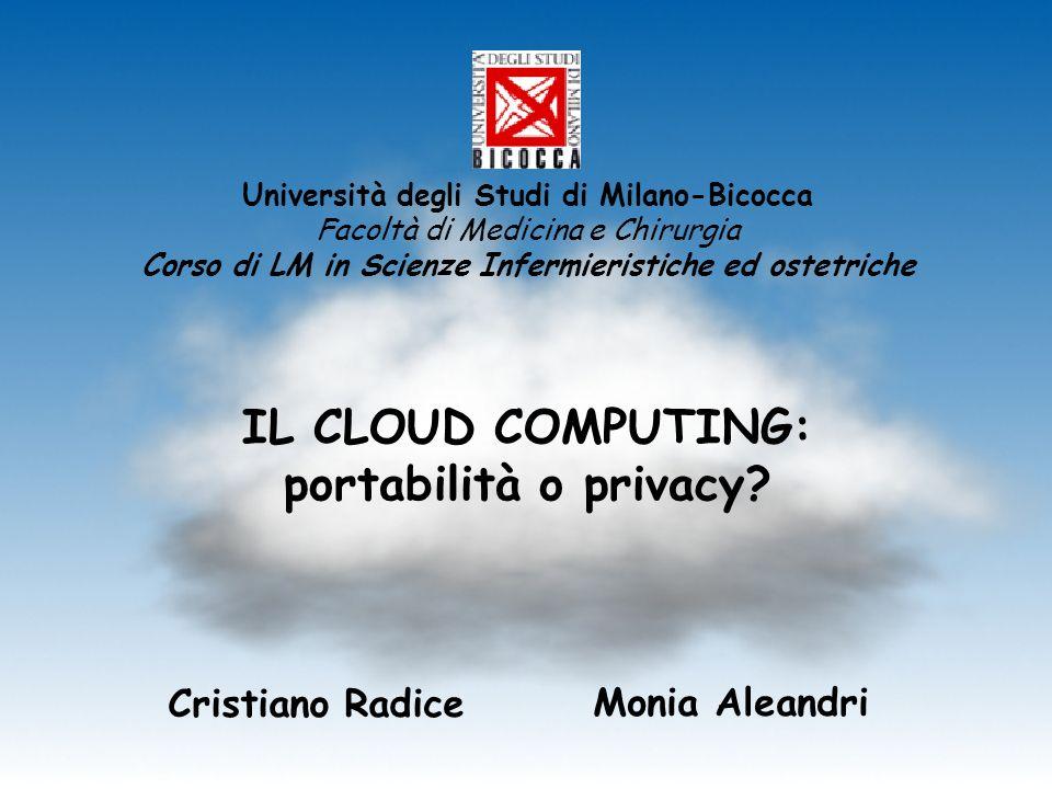 IL CLOUD COMPUTING: portabilità o privacy? Cristiano Radice Monia Aleandri Università degli Studi di Milano-Bicocca Facoltà di Medicina e Chirurgia Co