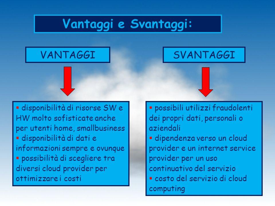 Vantaggi e Svantaggi: VANTAGGISVANTAGGI possibili utilizzi fraudolenti dei propri dati, personali o aziendali dipendenza verso un cloud provider e un