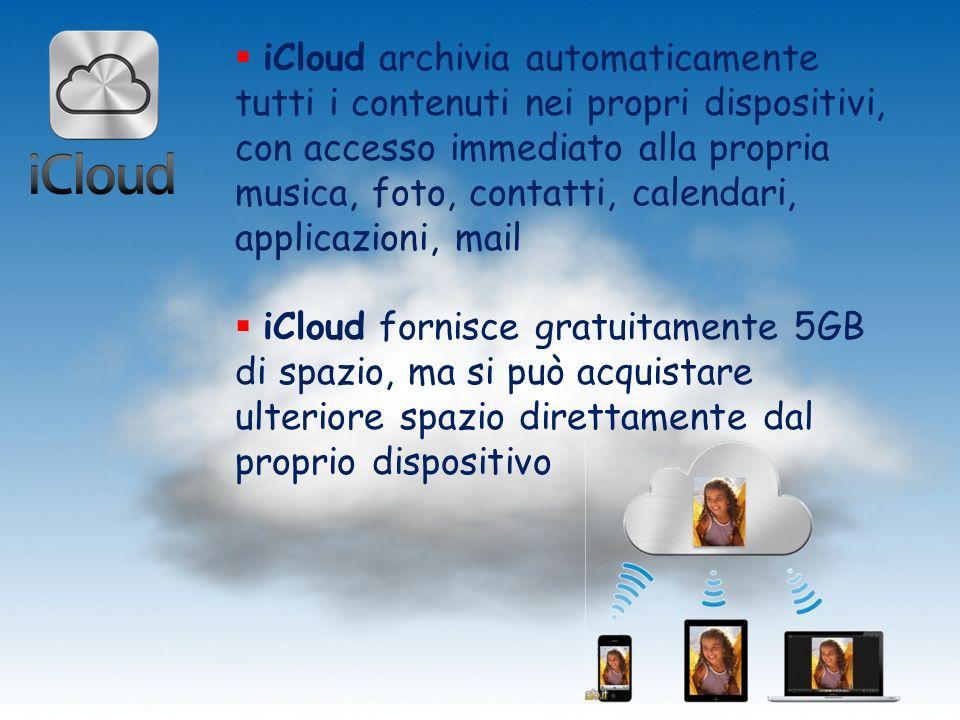 iCloud archivia automaticamente tutti i contenuti nei propri dispositivi, con accesso immediato alla propria musica, foto, contatti, calendari, applic
