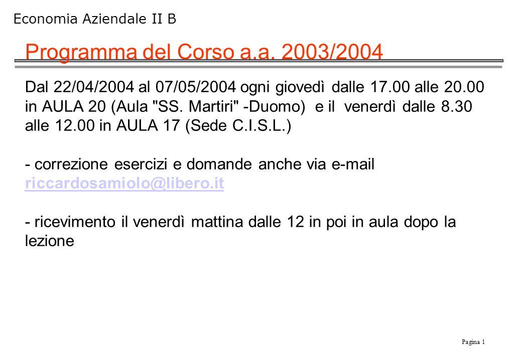 Pagina 1 Economia Aziendale II B Programma del Corso a.a. 2003/2004 Dal 22/04/2004 al 07/05/2004 ogni giovedì dalle 17.00 alle 20.00 in AULA 20 (Aula