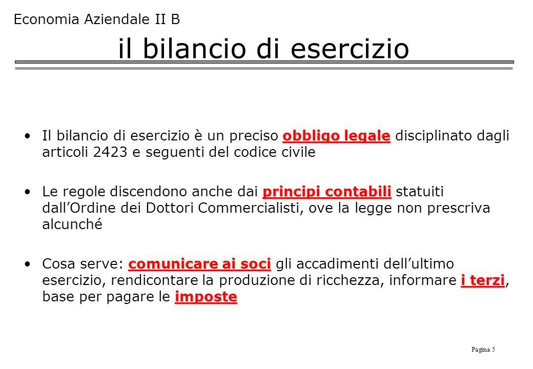 Pagina 5 Economia Aziendale II B il bilancio di esercizio obbligo legaleIl bilancio di esercizio è un preciso obbligo legale disciplinato dagli artico