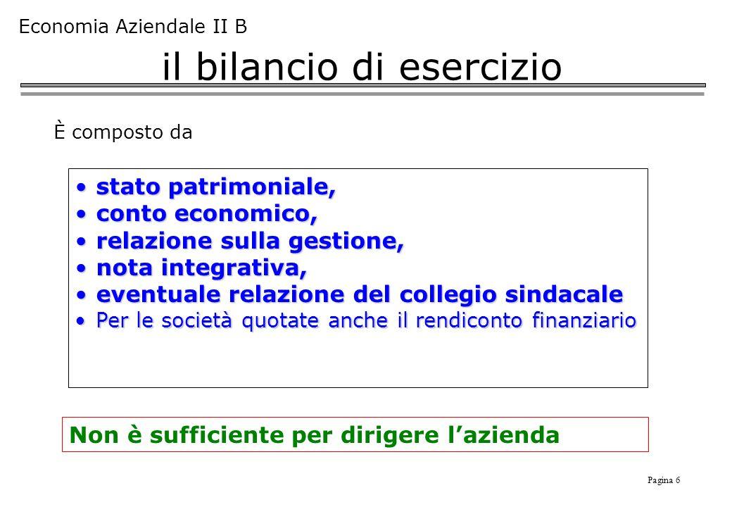 Pagina 6 Economia Aziendale II B il bilancio di esercizio È composto da stato patrimoniale,stato patrimoniale, conto economico,conto economico, relazi