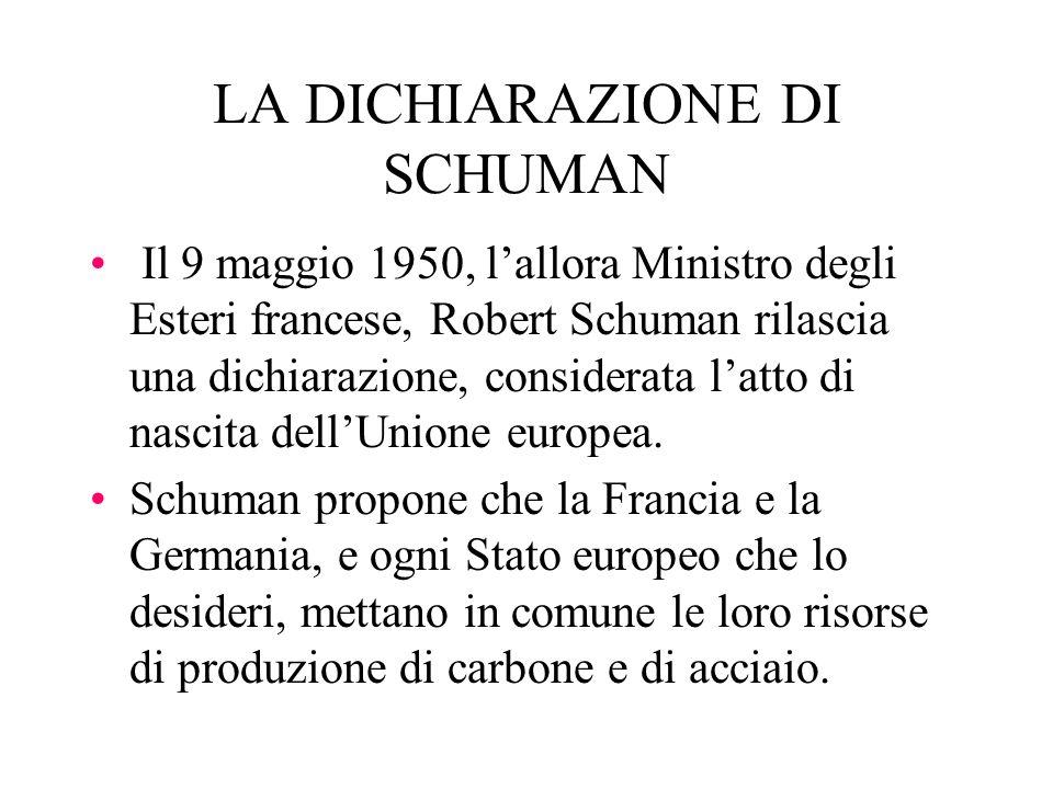LA DICHIARAZIONE DI SCHUMAN Il 9 maggio 1950, lallora Ministro degli Esteri francese, Robert Schuman rilascia una dichiarazione, considerata latto di