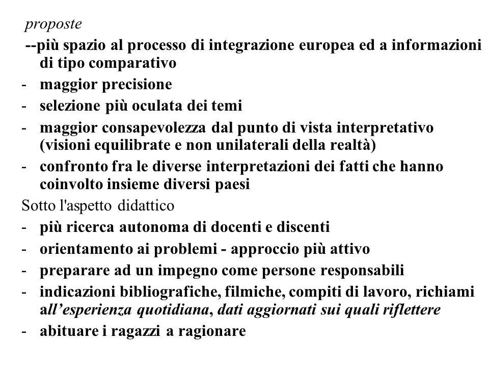 proposte --più spazio al processo di integrazione europea ed a informazioni di tipo comparativo -maggior precisione -selezione più oculata dei temi -m