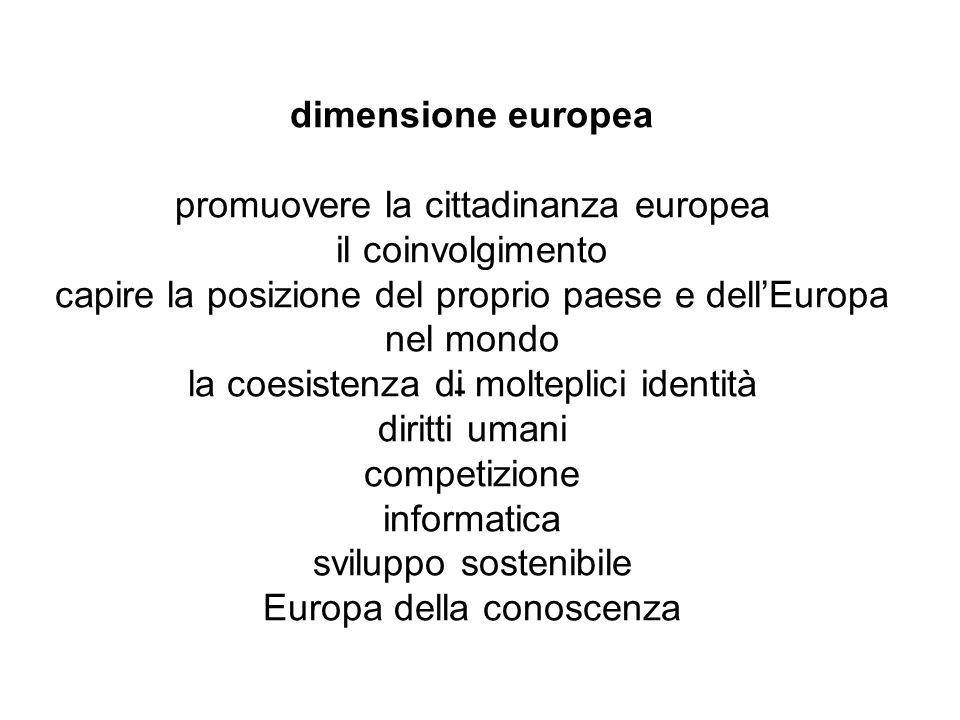 - dimensione europea promuovere la cittadinanza europea il coinvolgimento capire la posizione del proprio paese e dellEuropa nel mondo la coesistenza