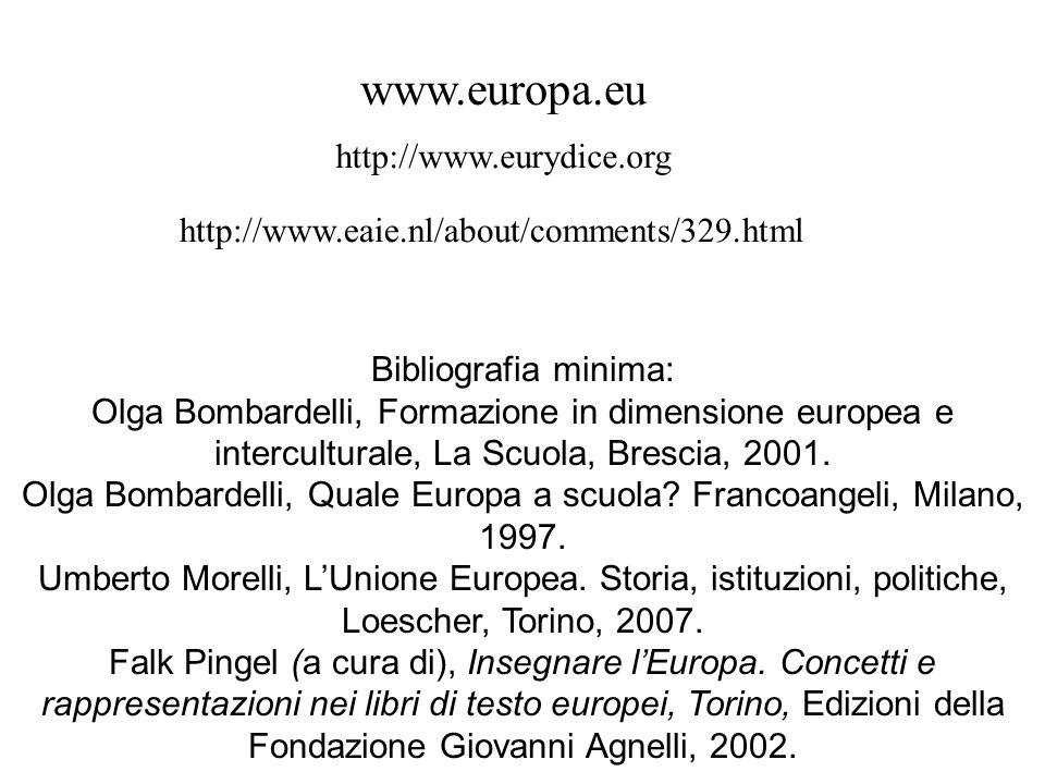 Bibliografia minima: Olga Bombardelli, Formazione in dimensione europea e interculturale, La Scuola, Brescia, 2001. Olga Bombardelli, Quale Europa a s