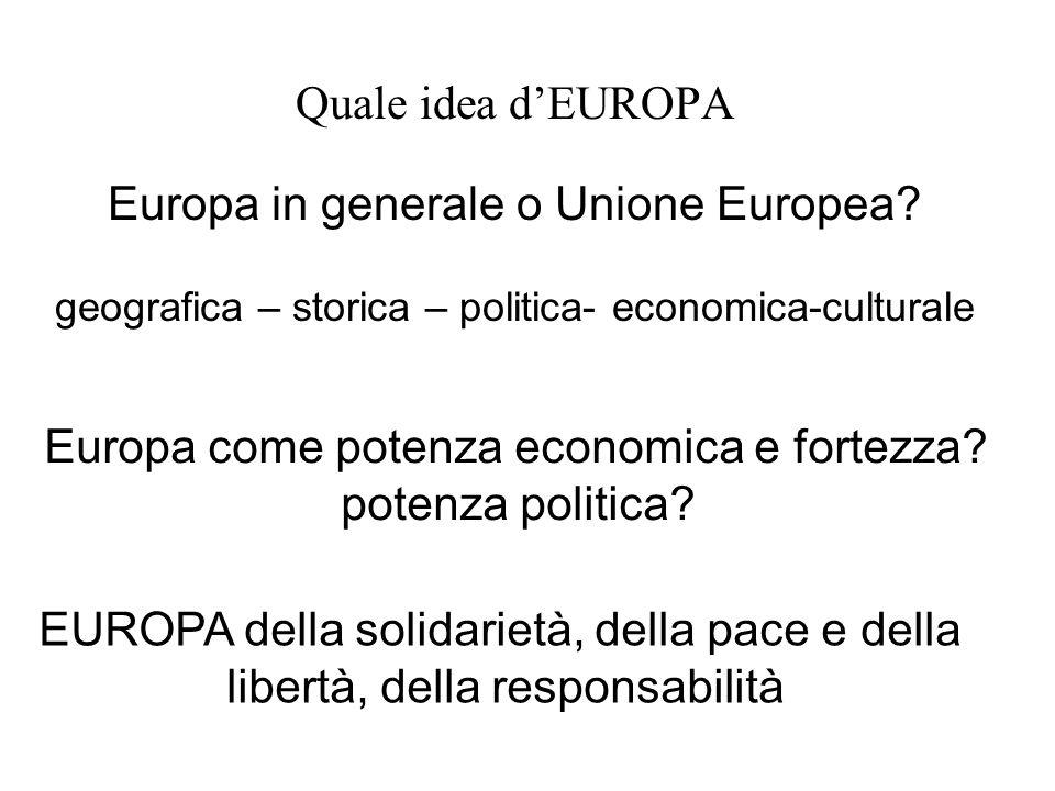 Quale idea dEUROPA Europa in generale o Unione Europea? geografica – storica – politica- economica-culturale Europa come potenza economica e fortezza?