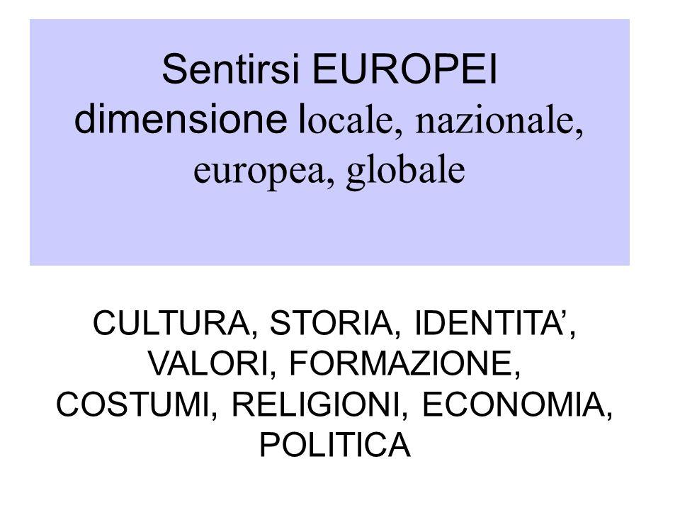 Sentirsi EUROPEI dimensione l ocale, nazionale, europea, globale CULTURA, STORIA, IDENTITA, VALORI, FORMAZIONE, COSTUMI, RELIGIONI, ECONOMIA, POLITICA