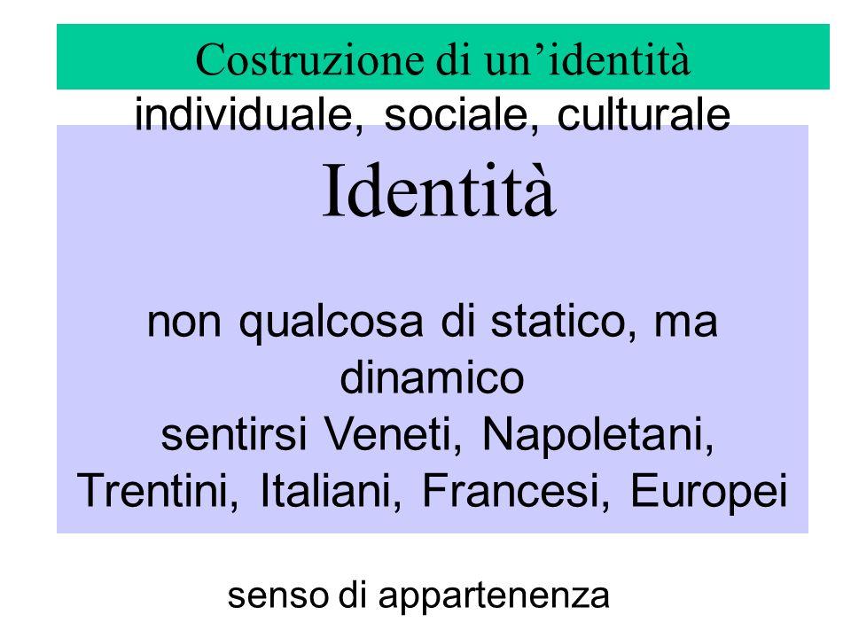 individuale, sociale, culturale Identità non qualcosa di statico, ma dinamico sentirsi Veneti, Napoletani, Trentini, Italiani, Francesi, Europei Costr