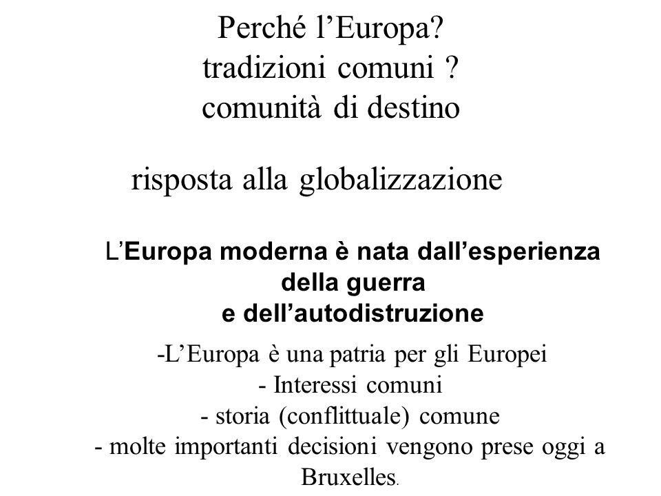 Perché lEuropa? tradizioni comuni ? comunità di destino risposta alla globalizzazione -LEuropa è una patria per gli Europei - Interessi comuni - stori