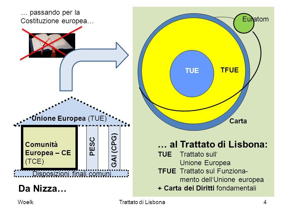TUE TFUE Carta Euratom … al Trattato di Lisbona: TUE Trattato sull Unione Europea TFUETrattato sul Funziona- mento dellUnione europea + Carta dei Diri