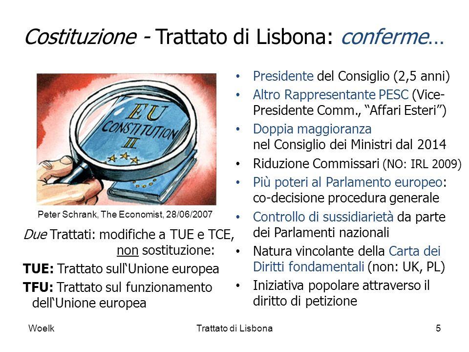 Costituzione - Trattato di Lisbona: conferme… Presidente del Consiglio (2,5 anni) Altro Rappresentante PESC (Vice- Presidente Comm., Affari Esteri) Do