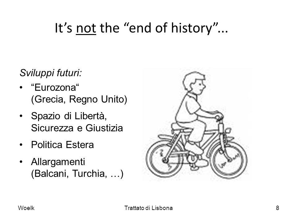 Per saperne di più: Portale dellUE – Trattato di Lisbona http://europa.eu/lisbon_treaty/index_it.htm Testo del Trattato versione consolidata del Trattato sullUnione Europea e del Trattato sul Funzionamento dellUnione Europea (G.U.U.E 115 del 9.5.2008) http://consilium.europa.eu/uedocs/cmsUpload/st06655.it08.pdf http://www.consilium.europa.eu/showPage.aspx?id=1296&lang=it Il Trattato in sintesi (descrizione breve ufficiale da parte dellUE) http://europa.eu/lisbon_treaty/glance/index_it.htm Fact sheets sul Trattato di riforma (English), Fondazione Robert-Schuman http://www.europarl.be/ressource/static/files/10fiches.pdf Jacques Ziller, Il nuovo Trattato europeo, Il Mulino, Bologna 2007 Tribunale costituzionale federale tedesco, sentenza del 30 giugno 2009: Legge di ratifica conforme alla Costituzione; legge di accompagnamento incostituzionale (partecipazione degli organi legislativi tedeschi non sufficiente) http://www.associazionedeicostituzionalisti.it/giurisprudenza/cortistraniere1 /tedesca/KarlsruheLisbona.pdf WoelkTrattato di Lisbona9