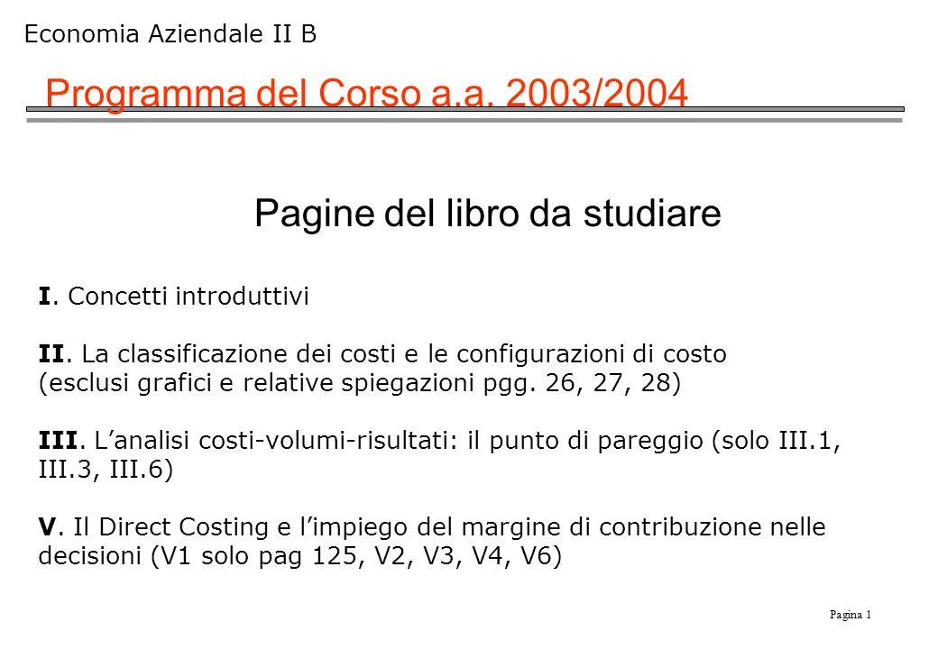 Pagina 1 Economia Aziendale II B Programma del Corso a.a.