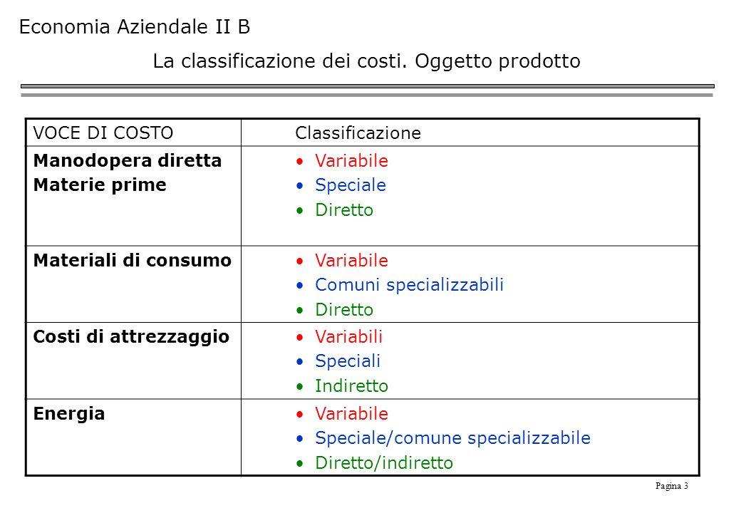 Pagina 3 Economia Aziendale II B La classificazione dei costi.