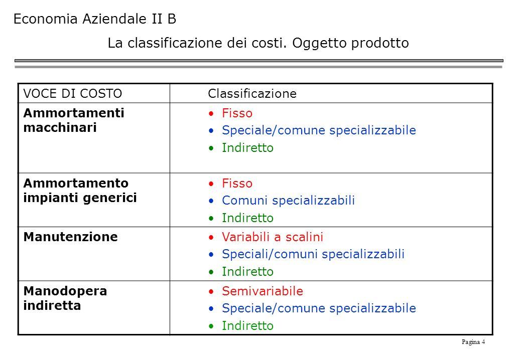 Pagina 4 Economia Aziendale II B La classificazione dei costi.