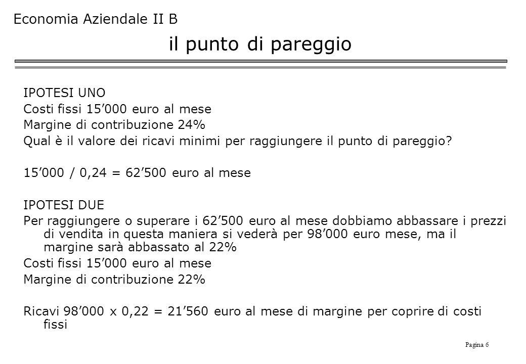 Pagina 6 Economia Aziendale II B il punto di pareggio IPOTESI UNO Costi fissi 15000 euro al mese Margine di contribuzione 24% Qual è il valore dei ricavi minimi per raggiungere il punto di pareggio.