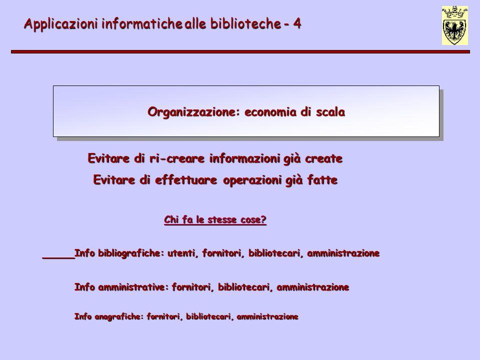 Organizzazione: economia di scala Applicazioni informatiche alle biblioteche - 4 Evitare di ri-creare informazioni già create Evitare di effettuare op