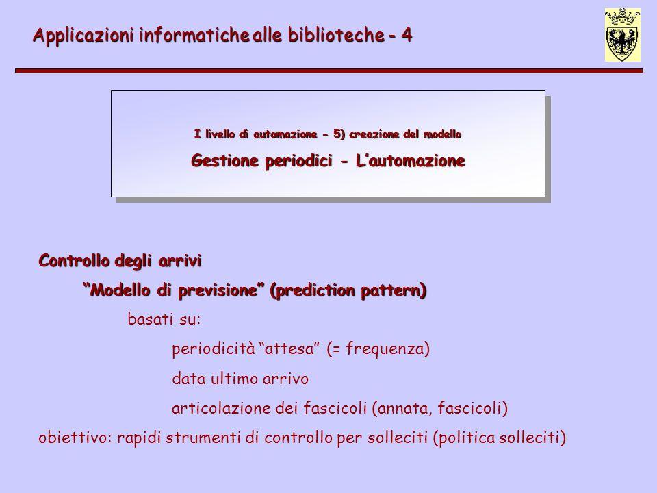 I livello di automazione - 5) creazione del modello Gestione periodici - Lautomazione Applicazioni informatiche alle biblioteche - 4 Controllo degli a