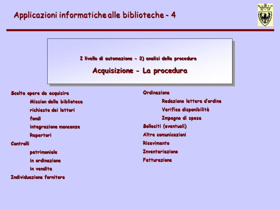 IV livello di automazione Acquisizione - Interazione con funzioni esterne Applicazioni informatiche alle biblioteche - 4 Altre banche dati bibliografiche Ricerca fonti informative (Z39.50) Catalogazione derivata (Z39.50, MARC, regole adeguate) Fornitori (Erdifact; EDI= Electronic Data Interchange) Integrazione con gestione ordine dei fornitori (es.