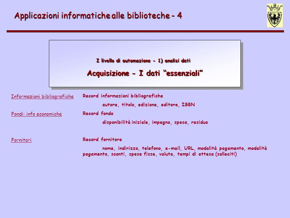 I livello di automazione - 1) analisi dati Acquisizione - I dati essenziali Applicazioni informatiche alle biblioteche - 4 Informazioni bibliografiche