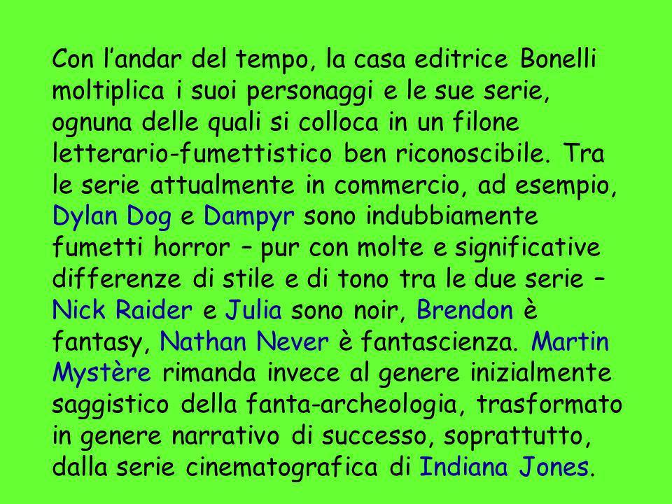 Con landar del tempo, la casa editrice Bonelli moltiplica i suoi personaggi e le sue serie, ognuna delle quali si colloca in un filone letterario-fume