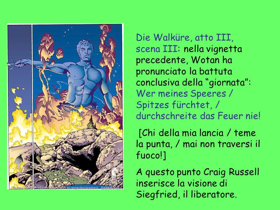 Die Walküre, atto III, scena III: nella vignetta precedente, Wotan ha pronunciato la battuta conclusiva della giornata: Wer meines Speeres / Spitzes f