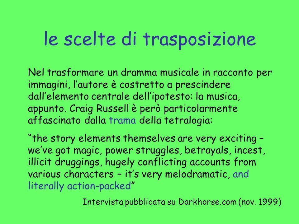 le scelte di trasposizione Nel trasformare un dramma musicale in racconto per immagini, lautore è costretto a prescindere dallelemento centrale dellip
