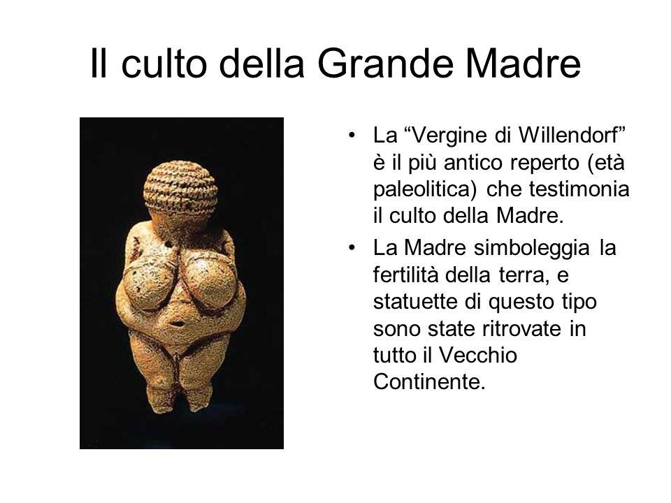 Il culto della Grande Madre La Vergine di Willendorf è il più antico reperto (età paleolitica) che testimonia il culto della Madre. La Madre simbolegg