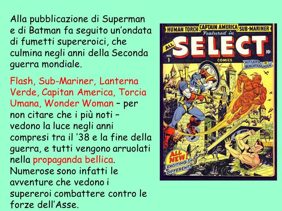 Alla pubblicazione di Superman e di Batman fa seguito unondata di fumetti supereroici, che culmina negli anni della Seconda guerra mondiale. Flash, Su