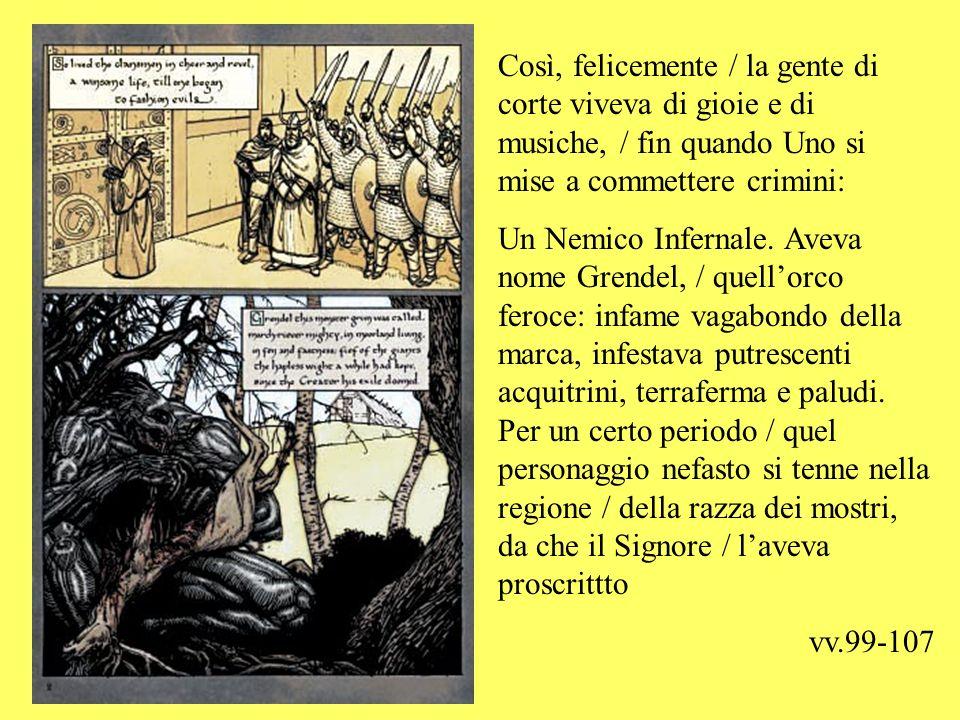 La tavola precedente rende con efficacia la contrapposizione, nel testo, tra la corte e Grendel, spezzando il filo del racconto tra due vignette allinterno della stessa tavola.