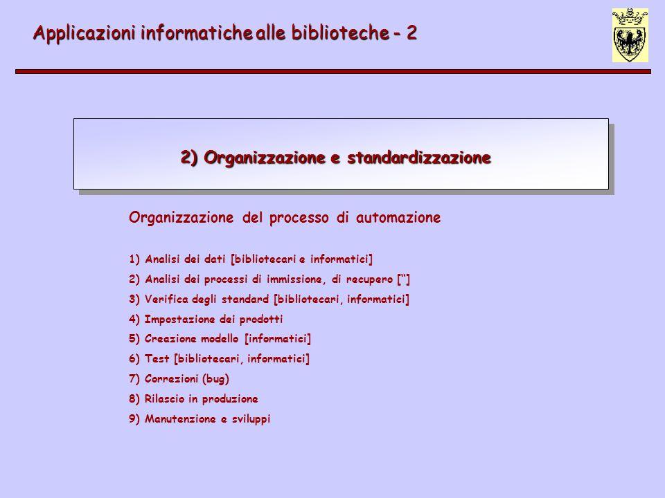 Standardizzazione Applicazioni informatiche alle biblioteche - 2 Potenziamento delle possibilità comunicative>>> standardizzazione STANDARD de iure (organi di standardizzazione) de facto (produttori) Analisi ai fini dellautomazione: reperimento standard esistenti