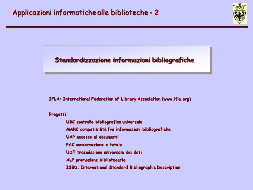 ISBD: International Standard of Bibliographic Description Applicazioni informatiche alle biblioteche - 2 ISBD (G) - 1971 (insieme di raccomandazioni), 1974, 1978, 1987 ISBD (G) - 1971 (insieme di raccomandazioni), 1974, 1978, 1987 ISBD (G) - 1977 ISBD (G) - 1977 ISBD (CM) - 1977 ISBD (CM) - 1977 ISBD (NBM) - 1977 ISBD (NBM) - 1977 ISBD (CF) - 1988 ; ISBD (ER) - 1997 ISBD (CF) - 1988 ; ISBD (ER) - 1997 ISBD (S) - 1977, 1988 ; ISBD (CR) - 2002 ISBD (S) - 1977, 1988 ; ISBD (CR) - 2002 ISBD (A) - 1980, 1991 ISBD (A) - 1980, 1991 ISBD (PM) - 1980, 1991 ISBD (PM) - 1980, 1991