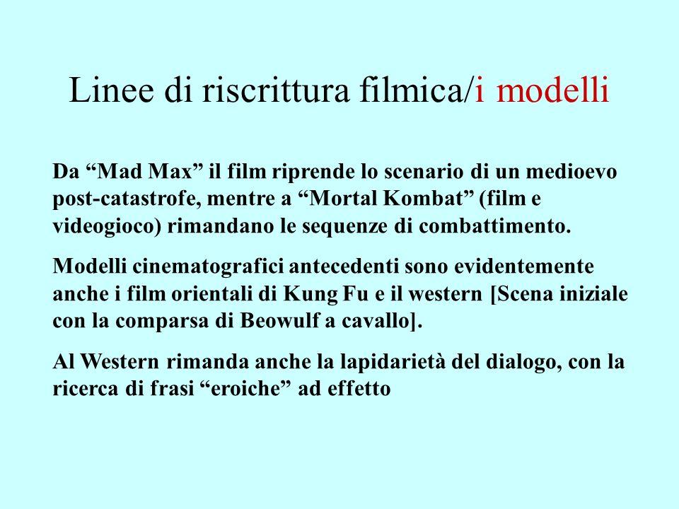 Linee di riscrittura filmica/i modelli Da Mad Max il film riprende lo scenario di un medioevo post-catastrofe, mentre a Mortal Kombat (film e videogioco) rimandano le sequenze di combattimento.