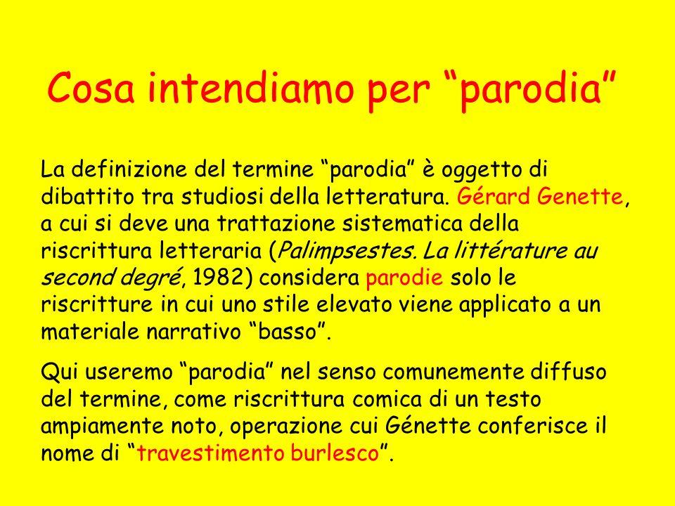 Il procedimento parodico può costituire unoperazione di riscrittura intrasemiotica (allinterno dello stesso codice espressivo) o intersemiotica (da un codice espressivo allaltro).