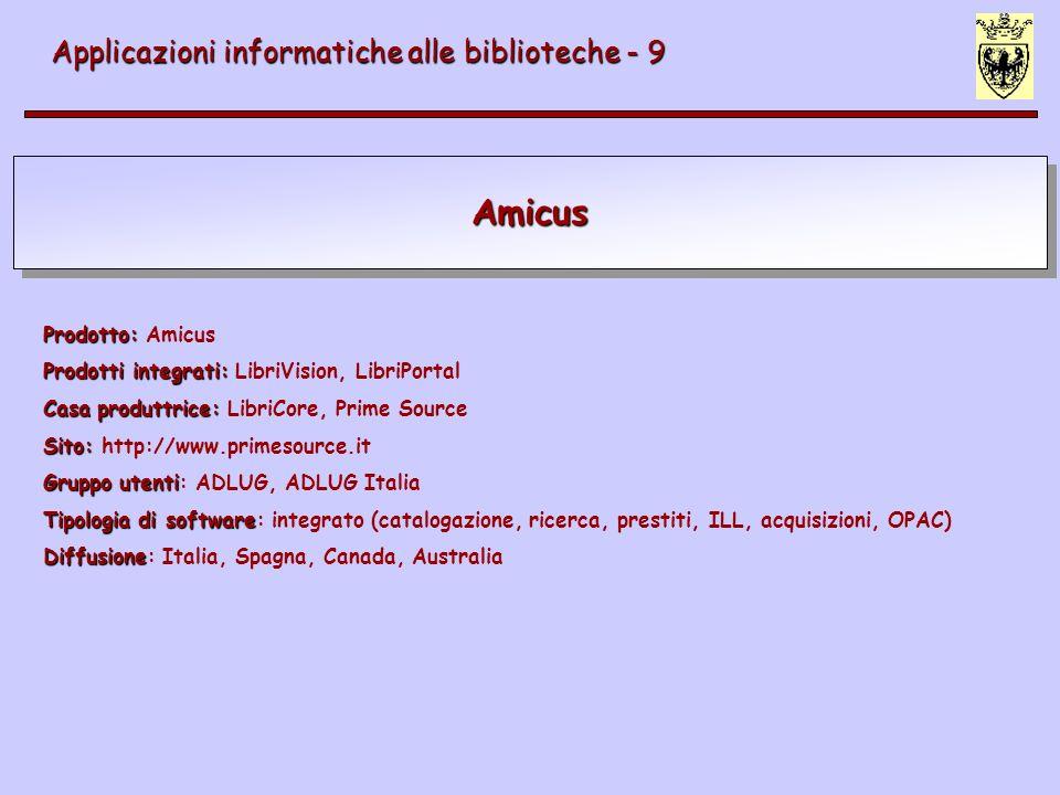 Amicus Applicazioni informatiche alle biblioteche - 9 Prodotto: Prodotto: Amicus Prodotti integrati: Prodotti integrati: LibriVision, LibriPortal Casa