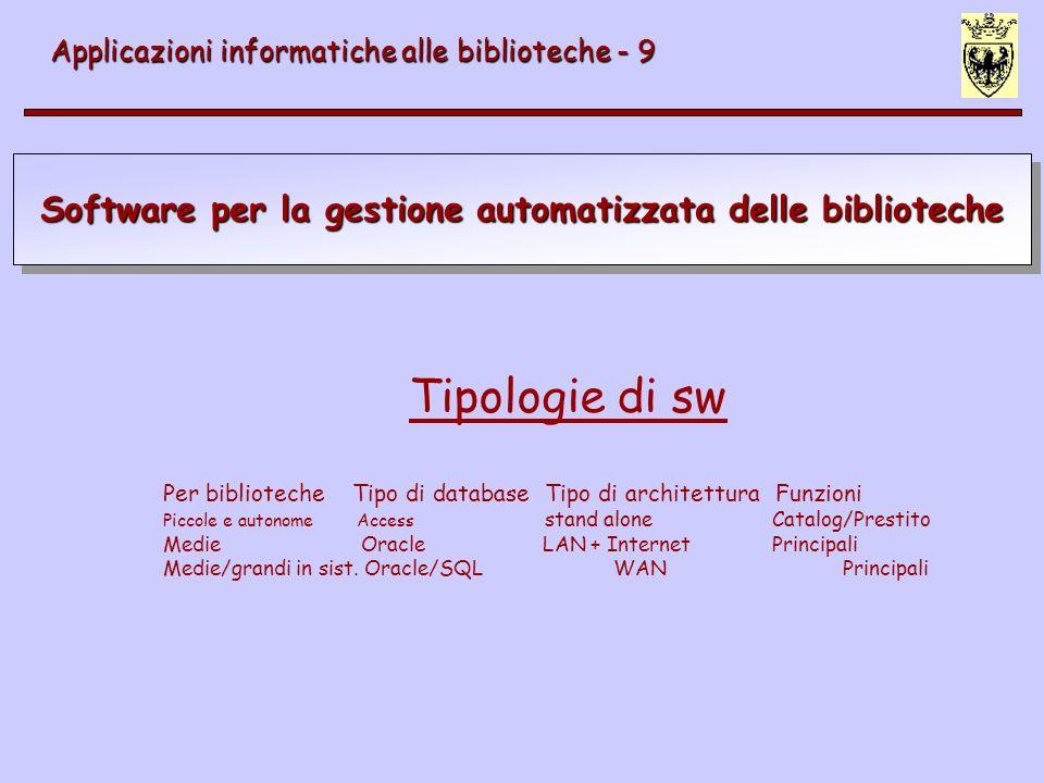 Software per la gestione automatizzata delle biblioteche Applicazioni informatiche alle biblioteche - 9 Caratteristiche dei sw dellultima generazione Sistema operativo: Window, Unix, Linux Architettura client/server (corretto con application server) Interfaccia grafica >> web Supporto integrato di vari formati MARC Protocollo di rete TCI/IP Database relazionali (RDBMS) Oracle, SQL Set di caratteri ISO 10646 Unicode ISO 10160-10161 per prestito interbibliotecario EDIfact per dialogo con fornitori Z39.50 per ricerca integrata