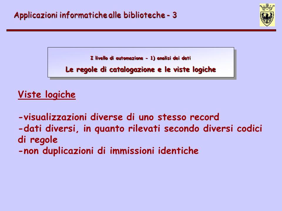 I livello di automazione Esempio di record di esemplare Applicazioni informatiche alle biblioteche - 3