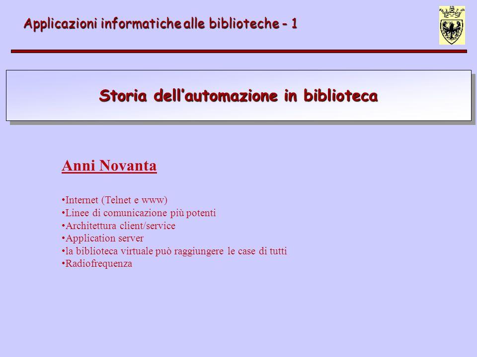 Storia dellautomazione in biblioteca Applicazioni informatiche alle biblioteche - 1 Anni Novanta Internet (Telnet e www) Linee di comunicazione più po